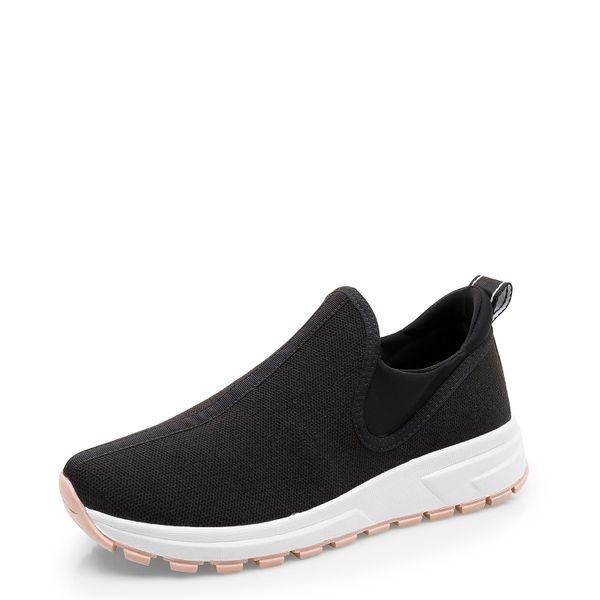 0926c87e331 Tênis Feminino Sneaker Knit - Tecido Fritz Lycra Preto - corello