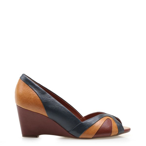 0aeacfb7d Sandália Feminina Anabela Colors - Couro Marrakesh Jeans/Dijon ...