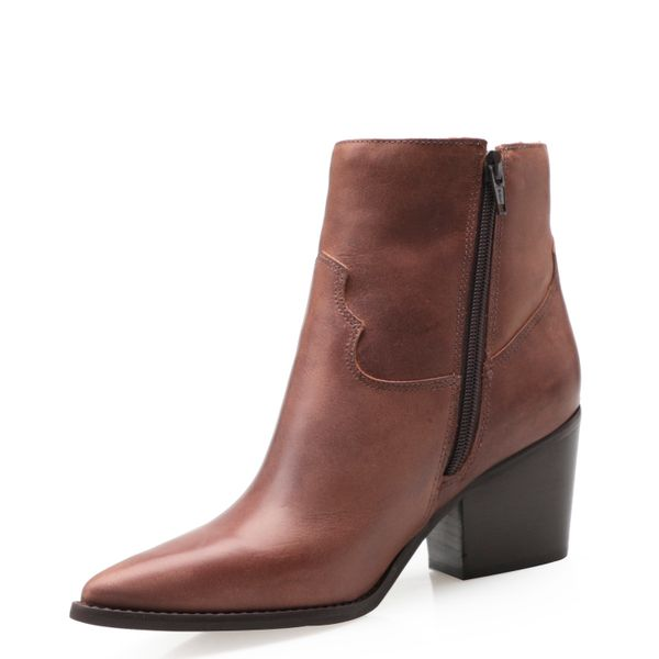bee06ecbcc Bota Feminina Western Ankle Boot - Couro Tabaco - corello