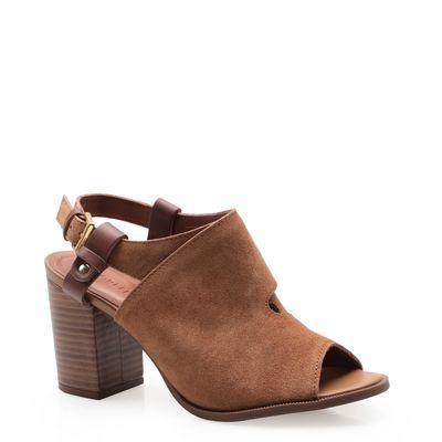 46e82768d Sandália Feminina Sandal Boot Cross - Couro Camurção Terra